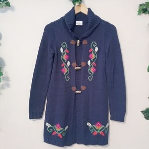 Hanna Knit Embroidered Toggle Buttons Jacket